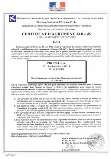 PRONAL航空航天145部分(维护)证书